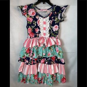 BOUTIQUE Girls dress sz 6 floral ruffled striped